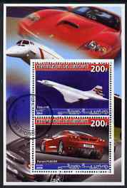 Djibouti 2006 Concorde & Ferrari F430-RA perf sheetlet containing 2 values cto used
