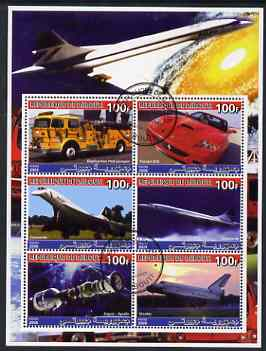 Djibouti 2006 Concorde, Space, Ferrari & Fire Trucks perf sheetlet containing 6 values cto used