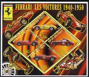 Haiti 2006 Ferrari Cars 1940-1950 perf sheetlet containing 4 diamond shaped values cto used, stamps on cars, stamps on ferrari, stamps on racing cars, stamps on