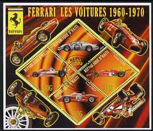 Haiti 2006 Ferrari Cars 1960-1970 perf sheetlet containing 4 diamond shaped values cto used