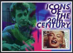 Somalia 2001 Icons of the 20th Century #01 perf s/sheet showing Marilyn Monroe with Bob Dylan in background cto used