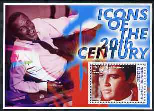 Somalia 2001 Icons of the 20th Century #05 perf s/sheet showing Elvis with Sinatra in background cto used
