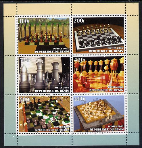 Benin 2003 Chess perf sheetlet containing set of 6 values unmounted mint. Note this item is privately produced and is offered purely on its thematic appeal