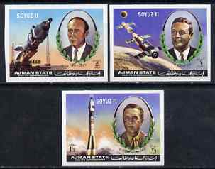 Ajman 1971 Soyuz 11 imperf set of 3 unmounted mint, Mi 1264-66B