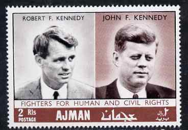 Ajman 1968 Fighters for Human Rights perf 2R The Kennedys unmounted mint, Mi 299