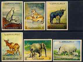 Ajman 1972 Animals imperf set of 6 on toned paper unmounted mint, Mi 1405-10C