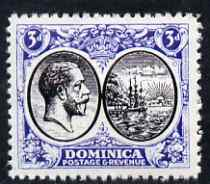 Dominica 1923-33 KG5 Badge 3d black & blue with centre reversed being a 'Hialeah' forgery on gummed paper (as SG 79var)