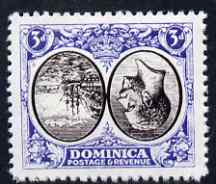 Dominica 1923-33 KG5 Badge 3d black & blue with centre inverted and reversed being a