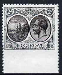 Dominica 1923-33 KG5 Badge 2d black & grey imperf between stamp and margin being a 'Hialeah' forgery on gummed paper (as SG 76var)