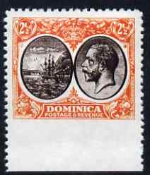 Dominica 1923-33 KG5 Badge 2.5d black & orange-yellow imperf between stamp and margin being a