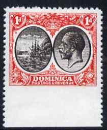 Dominica 1923-33 KG5 Badge 1d black & scarlet imperf between stamp and margin being a 'Hialeah' forgery on gummed paper (as SG 73var)
