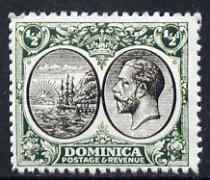 Dominica 1923-33 KG5 Badge 1/2d black & green being a 'Hialeah' forgery on gummed paper (as SG 71)