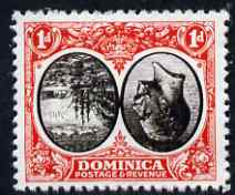 Dominica 1923-33 KG5 Badge 1d black & scarlet with centre inverted and reversed being a 'Hialeah' forgery on gummed paper (as SG 73var)