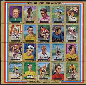 Ajman 1972 Tour de France Bicycle Race perf set of 20 unmounted mint, Mi 1351-70A