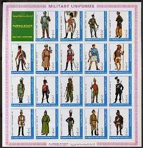 Ajman 1972 Military Uniforms #1 complete imperf set of 19 values unmounted mint, Mi 1774-92B