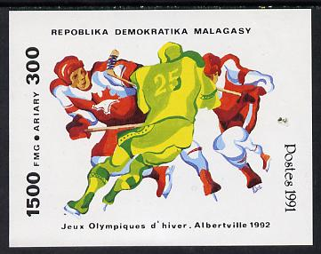 Malagasy Republic 1991 Albertville Winter Olympics 2nd issue unmounted mint m/sheet (Ice Hockey) SG MS 869