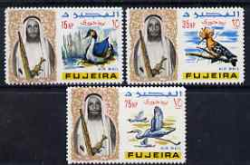 Fujeira 1967 Birds the 3 values from def set (15np, 35np & 75np) unmounted mint, Mi 40, 42 & 44