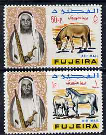 Fujeira 1967 Horse 1r & Ass 50np from def set unmounted mint, Mi 43 & 45