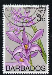 Barbados 1974-77 Dendrobium Rose Marie 3c Orchid fine cds used SG 487
