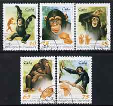 Cuba 1998 Evolution of the Chimpanzee perf set of 5 fine cto used, SG 4255-59