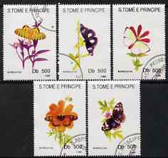 St Thomas & Prince Islands 1993 Butterflies & Flowers perf set of 5 fine cto used,