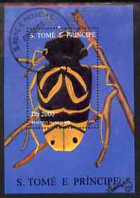 St Thomas & Prince Islands 1996 Beetles perf m/sheet (Maple Borer) fine cto used