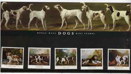 Great Britain 1991 Dog Paintings by George Stubbs set of 5 in official presentation pack