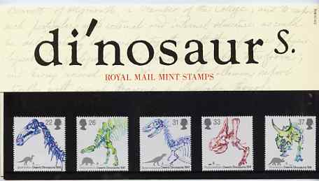 Great Britain 1991 Dinosaurs Identification by Owen set of 5 in official presentation pack