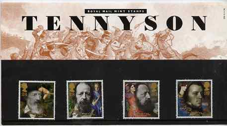 Great Britain 1992 Death Centenary of Alfred Lord Tennyson (Poet) set of 4 in official presentation pack