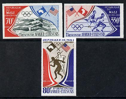 Mali 1973 Afro-American Sports Meeting imperf set of 3 (Swimming, Discus, Javelin, Running & Flags), SG 395-97