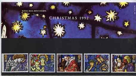 Great Britain 1992 Christmas - Stained Glass Windows set of 5 in official presentation pack