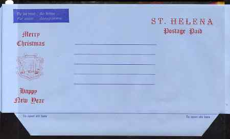 St Helena Postage paid 'Christmas' airletter sheet unused, folded along fold lines