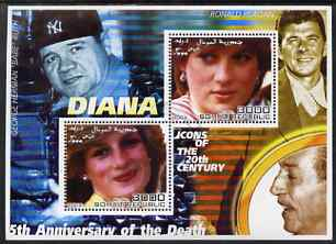 Somalia 2002 Princess Diana 5th Anniversary of Death #04 perf sheetlet containing 2 values with Babe Ruth, Ronald Reagan & Walt Disney in background fine cto used