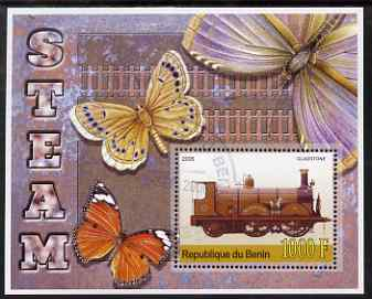 Benin 2006 Early Steam Locos #1 (Gladstone) perf m/sheet with Butterflies in background fine cto used
