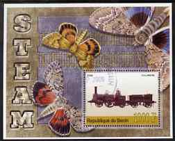Benin 2006 Early Steam Locos #2 (Columbine) perf m/sheet with Butterflies in background fine cto used