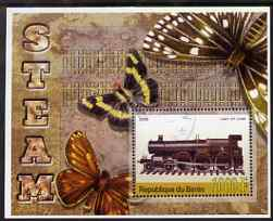 Benin 2006 Early Steam Locos #4 (Lady of Lynn) perf m/sheet with Butterflies in background fine cto used