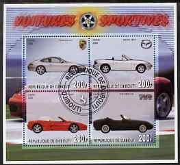Djibouti 2006 Sports Cars perf sheetlet containing 4 values (Porsche, TVR, Ferrari & Mazda) very fine cto used