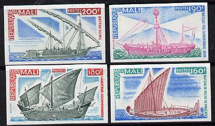 Mali 1976 Ships imperf set of 4 (Lightship, Chinese Junk, Fishing Boat, Felucca) unmounted mint as SG 563-66