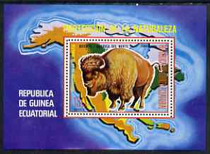 Equatorial Guinea 1977 North American Animals (Buffalo) perf m/sheet, slight gum disturbance from backing paper, MI BL 271