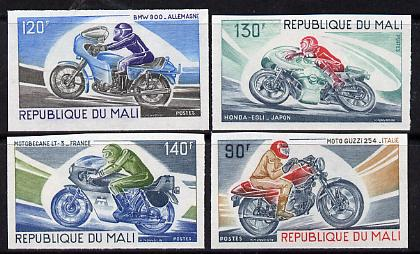 Mali 1976 Motor cycling unmounted mint imperf set of 4, as SG 556-59 (from limited printing) gutter pairs available price x 2