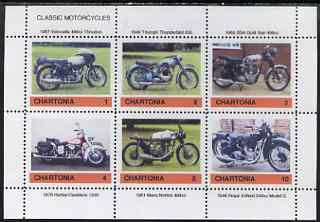Chartonia (Fantasy) Classic Motorcycles perf sheetlet containing 6 values unmounted mint