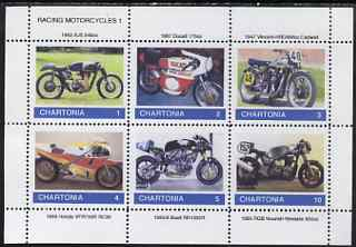 Chartonia (Fantasy) Racing Motorcycles #1 perf sheetlet containing 6 values unmounted mint, stamps on cinderella, stamps on motorbikes, stamps on sport