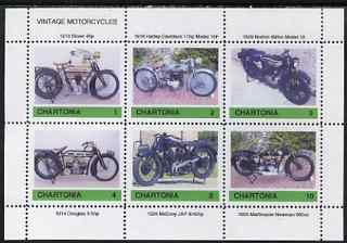 Chartonia (Fantasy) Vintage Motorcycles perf sheetlet containing 6 values unmounted mint
