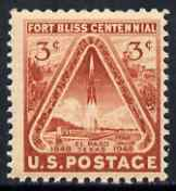 United States 1948 Fort Bliss Centenary 3c unmounted mint, SG 973