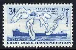 United States 1955 Centenary of Soo Locks 3c unmounted mint, SG 1071