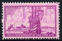United States 1953 300th Anniversary of Foundation of New York City 3c unmounted mint, SG 1024