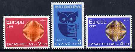 Greece 1970 Europa perf set of 3 unmounted mint, SG 1142-44