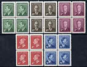 Canada 1950 KG6 set of 5 (without Postes-Postage) each in unmounted mint block of 4 SG 424-8