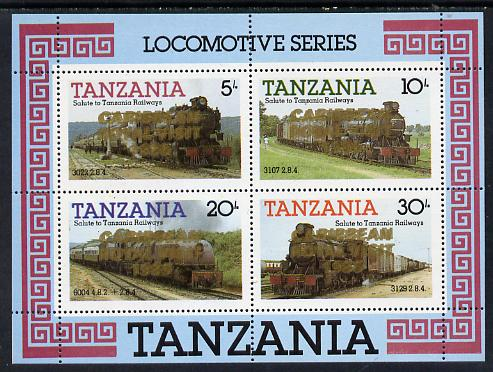 Tanzania 1985 Locomotives unmounted mint perf proof m/sheet with