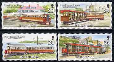 Isle of Man 1993 Electric Railway Centenary perf set of 4 unmounted mint SG 559-62, stamps on railways